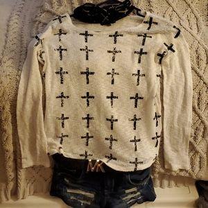 White&black Cross light weight sweater
